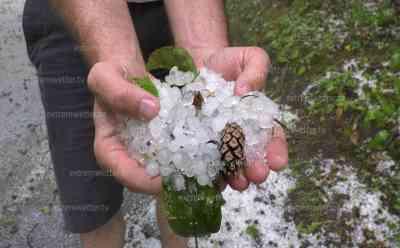 Hagelschlag beenden Sommer, weiße Landschaft mitten im Sommer: 2 cm große Hagelkörner im Nordschwarzwald, Sturmschäden